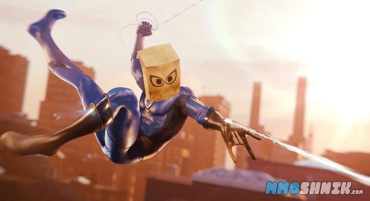 Новый костюм Spider man с пакетом на голове